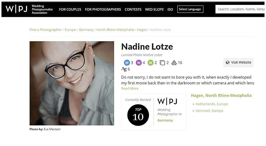 WPJA Wedding Photojournalist Association lumoid Hochzeitsfotografin Nadine Lotze Hagen Ruhrgebiet NRW Top 10 für Deutschland Platzierung